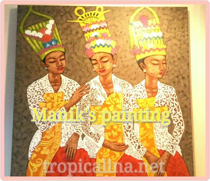 バリ絵画 Manik氏の絵 バリの3人の女性