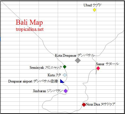 バリ島人気エリアの地図